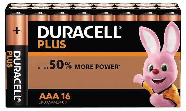 Paquete de 16 Pilas Duracell Plus Power AAA